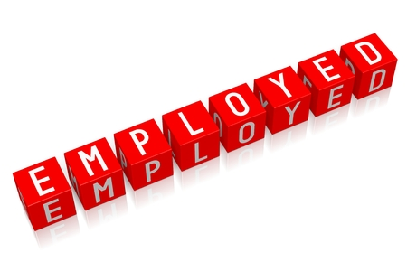 employed: Employed - 3D cube word Stock Photo