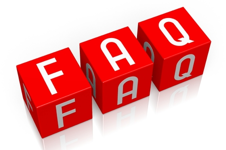 asked: Faq - 3D cube word Stock Photo
