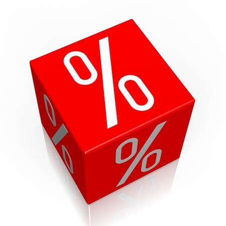 Percent sign - 3D cube word