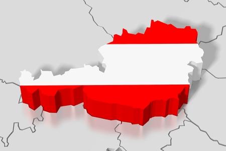 3D map, flag - Austria