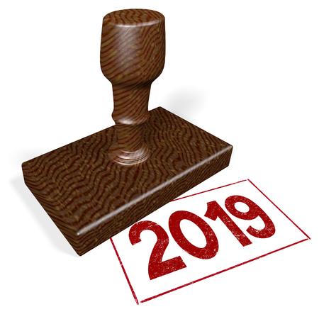3D rubber stamp - 2019 Standard-Bild