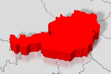 3D map - Austria Stock Photo