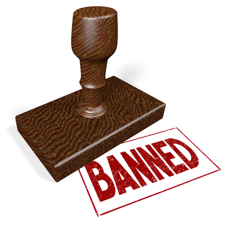 3D rubber stamp - banned Stock Photo