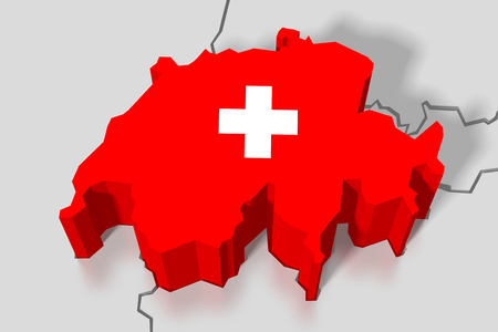 europe closeup: 3D map, flag - Switzerland Stock Photo