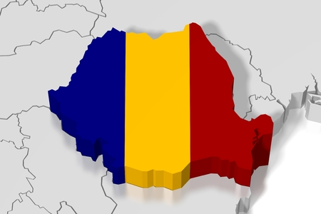 3D map, flag - Romania