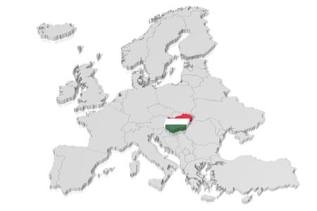 3D map, flag - Hungary