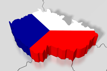 3D map, flag - Czech Republic Stock fotó