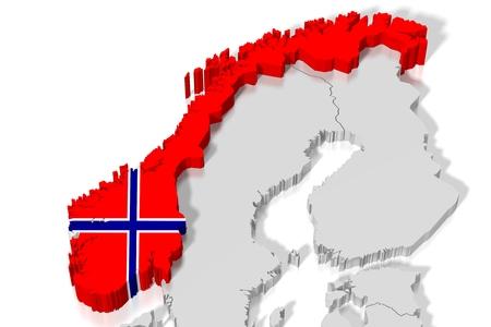 3 D 地図、国旗 - ノルウェー