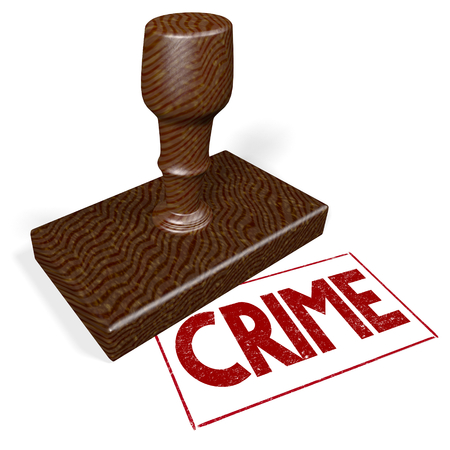 3D rubber stamp - crime Stock Photo