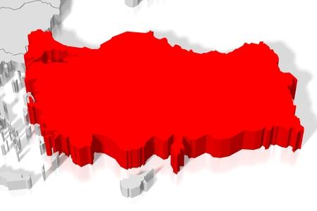 3D map - Turkey Stock Photo - 84200500
