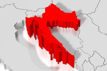 3 D 地図 - クロアチア