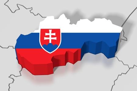 3D map, flag - Slovakia Stock Photo