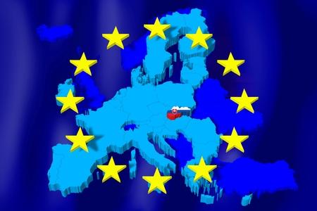 3D 유럽 연합지도  플래그 - 슬로바키아