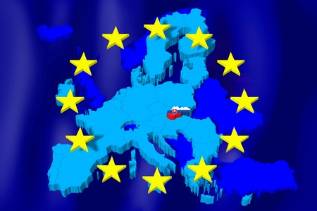3D European Union map flag - Slovakia