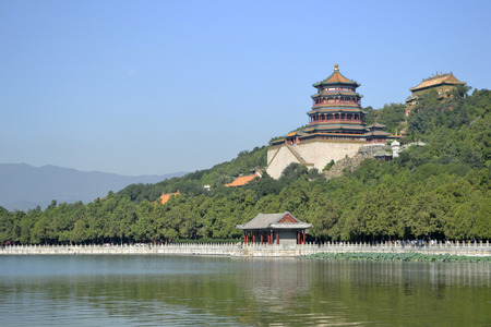 The Empress Garden in Beijing, China captured from the lake. Stock Photo