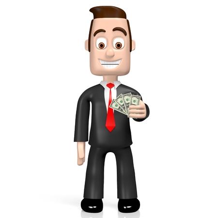 3D businessman holding US dollars Stock Photo