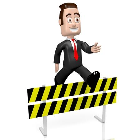 conquering adversity: 3D businessman - conquering adversity concept Stock Photo