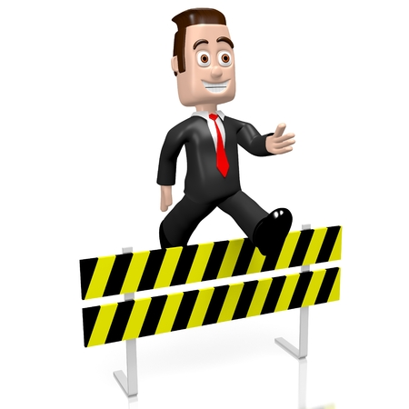 3D businessman - conquering adversity concept Stock Photo