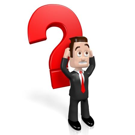 3D businessman - question mark concept