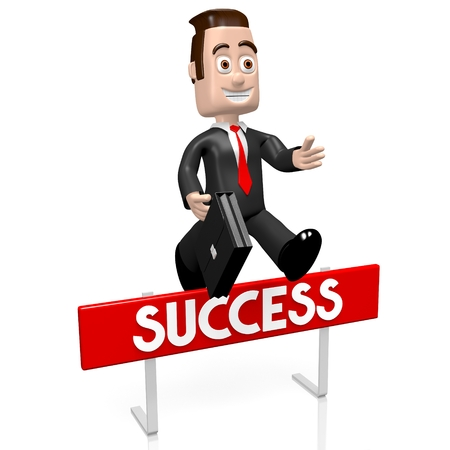 conquering adversity: 3D businessman jumping over an obstacle - success concept