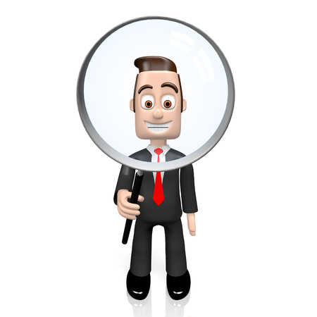 3D businessman holding magnifying glass