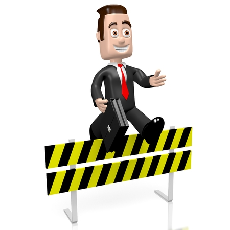 conquering adversity: 3D businessman jumping over an obstacle