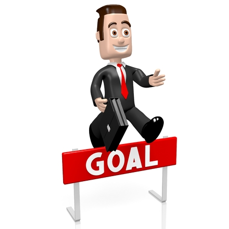 conquering adversity: 3D businessman jumping over an obstacle - goal concept