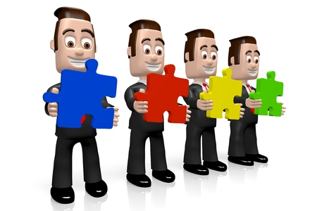 3D businessmen teamwork concept