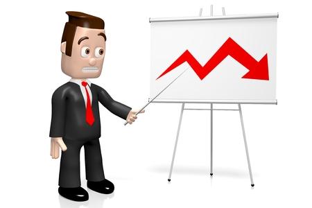 3D businessman - crisis chart