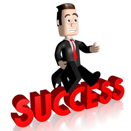 3D businessman - success concept Stock Photo