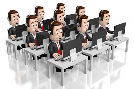 3D Geschäftsleute - Call Center Konzept