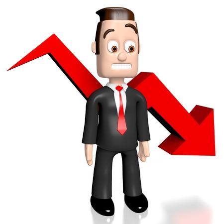 collapse: 3D businessman crisis concept