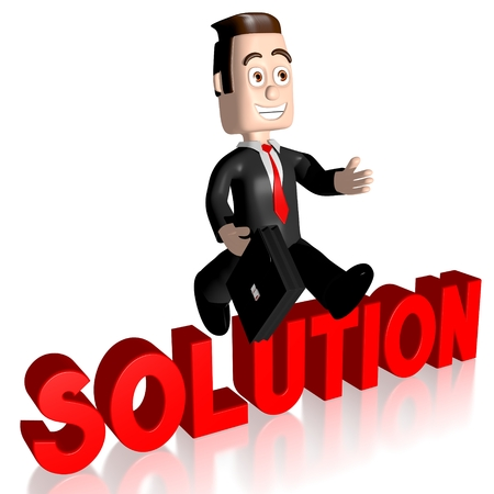 conquering adversity: 3D businessman solution concept Stock Photo