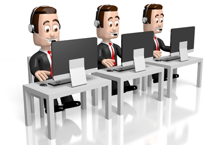 hands free device: 3D businessmen - call center concept Stock Photo