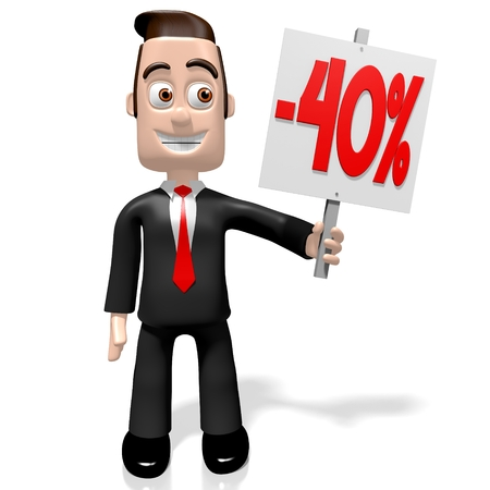 3D 사업가, -40 %, 40 % 할인 개념을 판매 스톡 콘텐츠