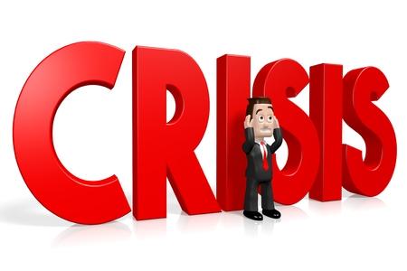 3D businessman - crisis concept Stock Photo