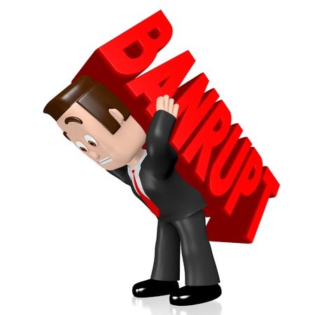 bankrupt: 3D businessman - bankrupt concept Stock Photo