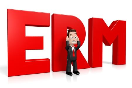3D businessman - ERM concept Stock Photo