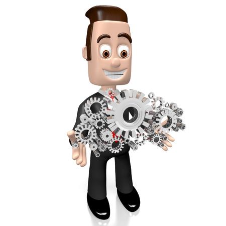 3D businessman, gears Stock Photo