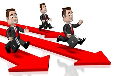 3D running businessmen, arrows Stock Photo