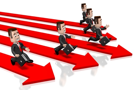 pace: 3D running businessmen, arrows Stock Photo