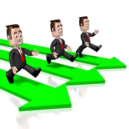 3D running businessmen, arrows 版權商用圖片