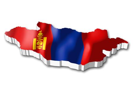 3D flag - Mongolia 版權商用圖片