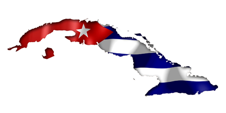 Map with Cuba Flag Stock Photo