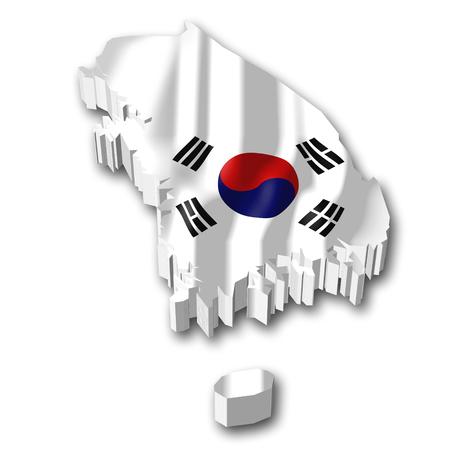 3D flag - South Korea