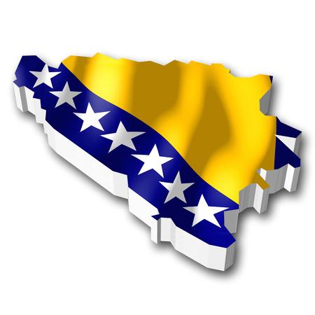 bosnia and herzegovina: 3D flag - Bosnia and Herzegovina