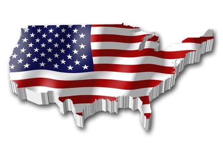 3D flag - USA, United States of America
