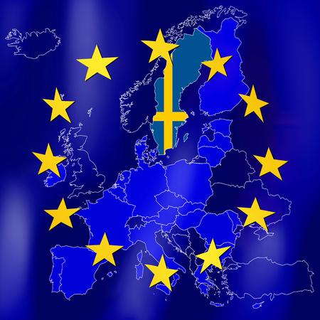 EU map - Sweden Stock Photo