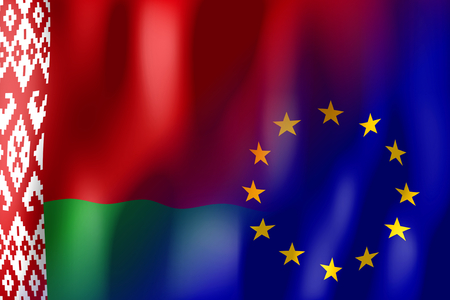 treaty: Belarus and European Union flags Stock Photo