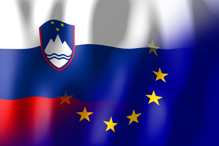 슬로베니아 및 유럽 연합 국기 스톡 콘텐츠